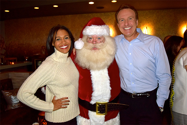 WCVB Channel 5's Shayna Seymour, Santa Boston, and WCVB Channel 5's Anthony Everett.