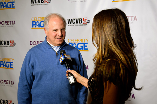 WCVB Channel 5 President and General Manager Bill Fine and Celebrity Page TV Host Sonia Isabelle.