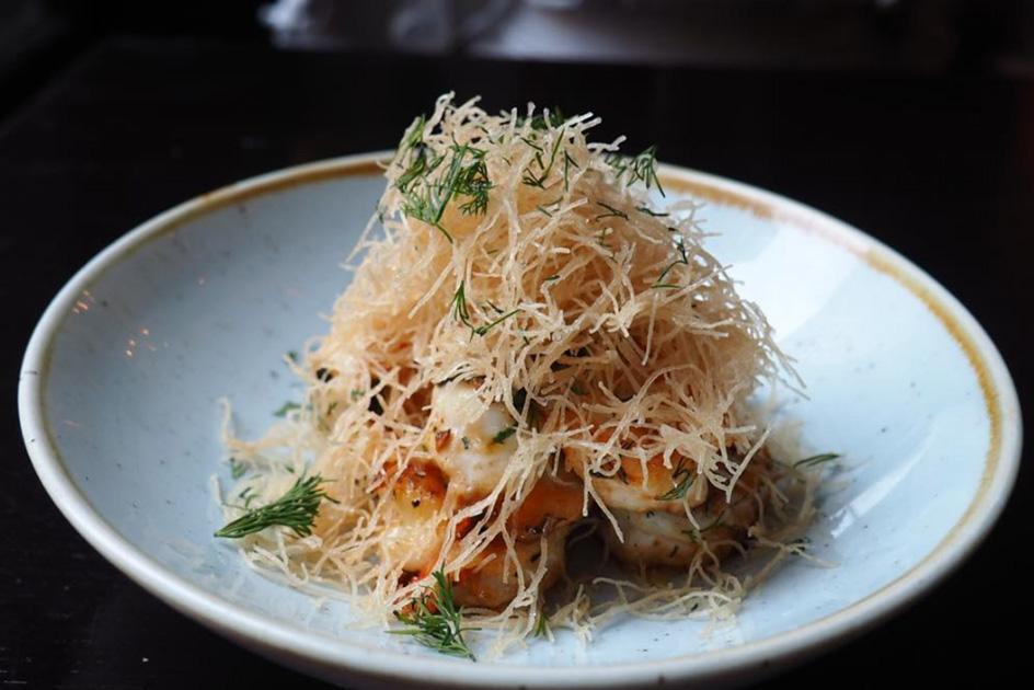 Warm shrimp with crispy kataifi, lemon, and dill, at Doretta Taverna & Raw Bar