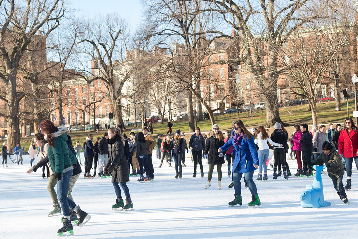 Bostonians enjoy a day on the ice at the Common's Frog Pond.