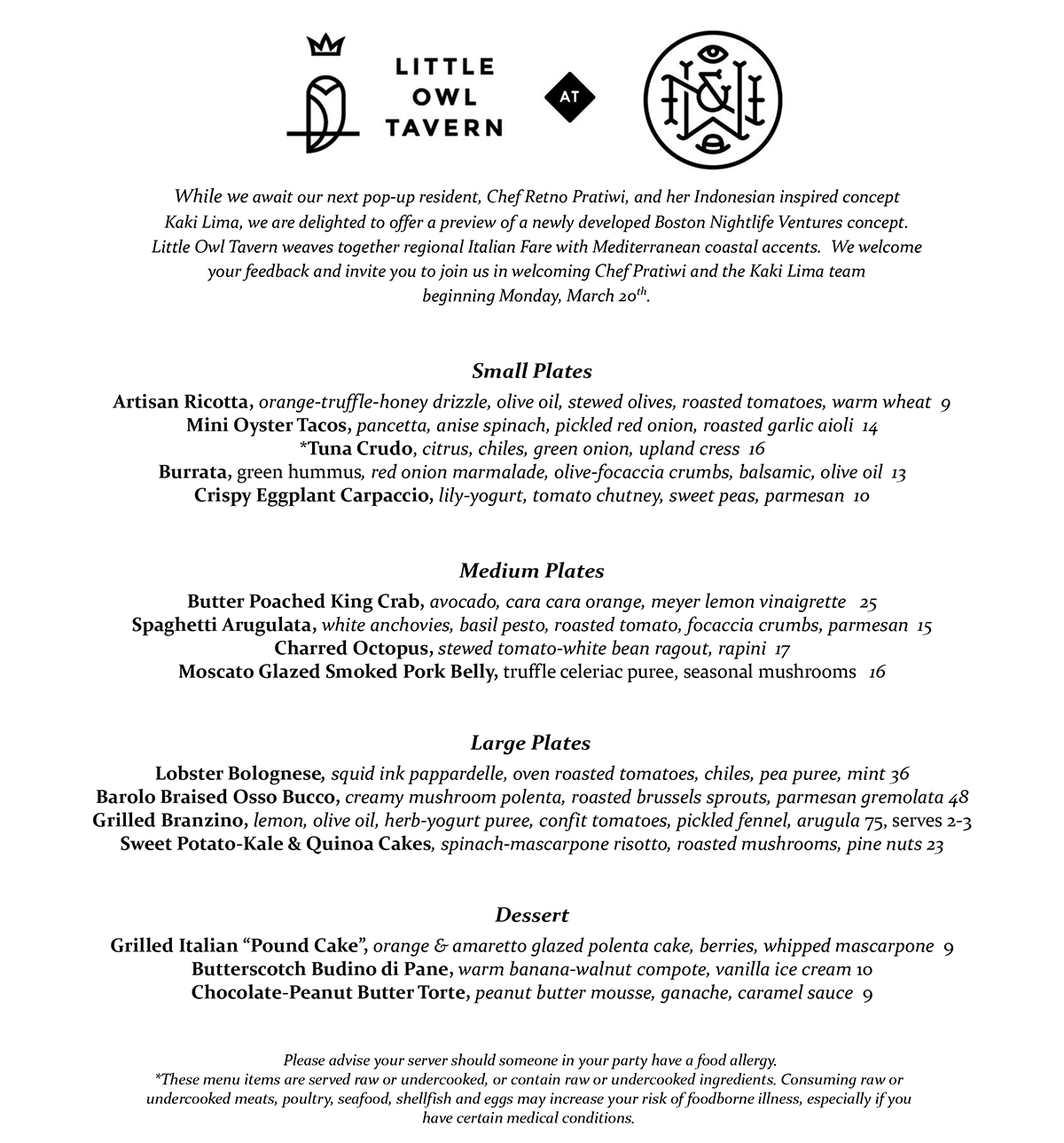 Little Owl Tavern menu at Wink and Nod_1.23.17