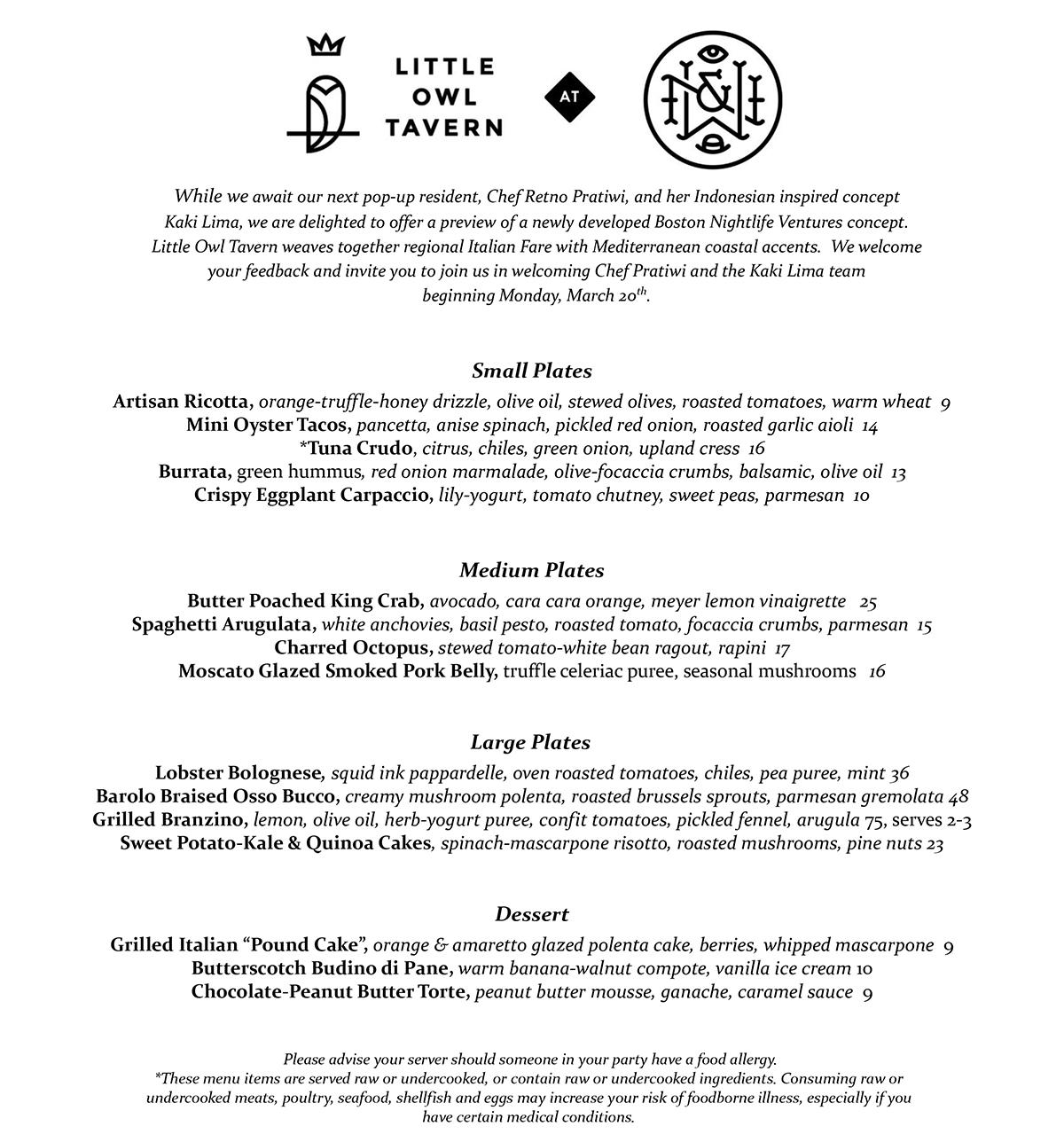 Little Owl Tavern menu at Wink and Nod_1.23.17