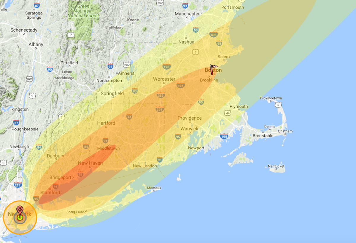 How Much Of Boston Would Be Destroyed By Nuclear War - Nuke map us