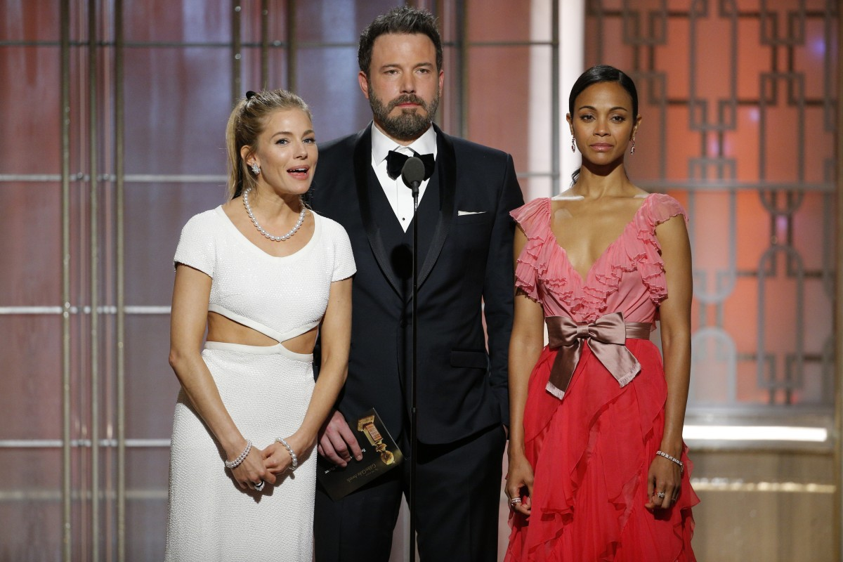 'Live by Night' stars Sienna Miller, Ben Affleck, and Zoe Saldana at the Golden Globes.