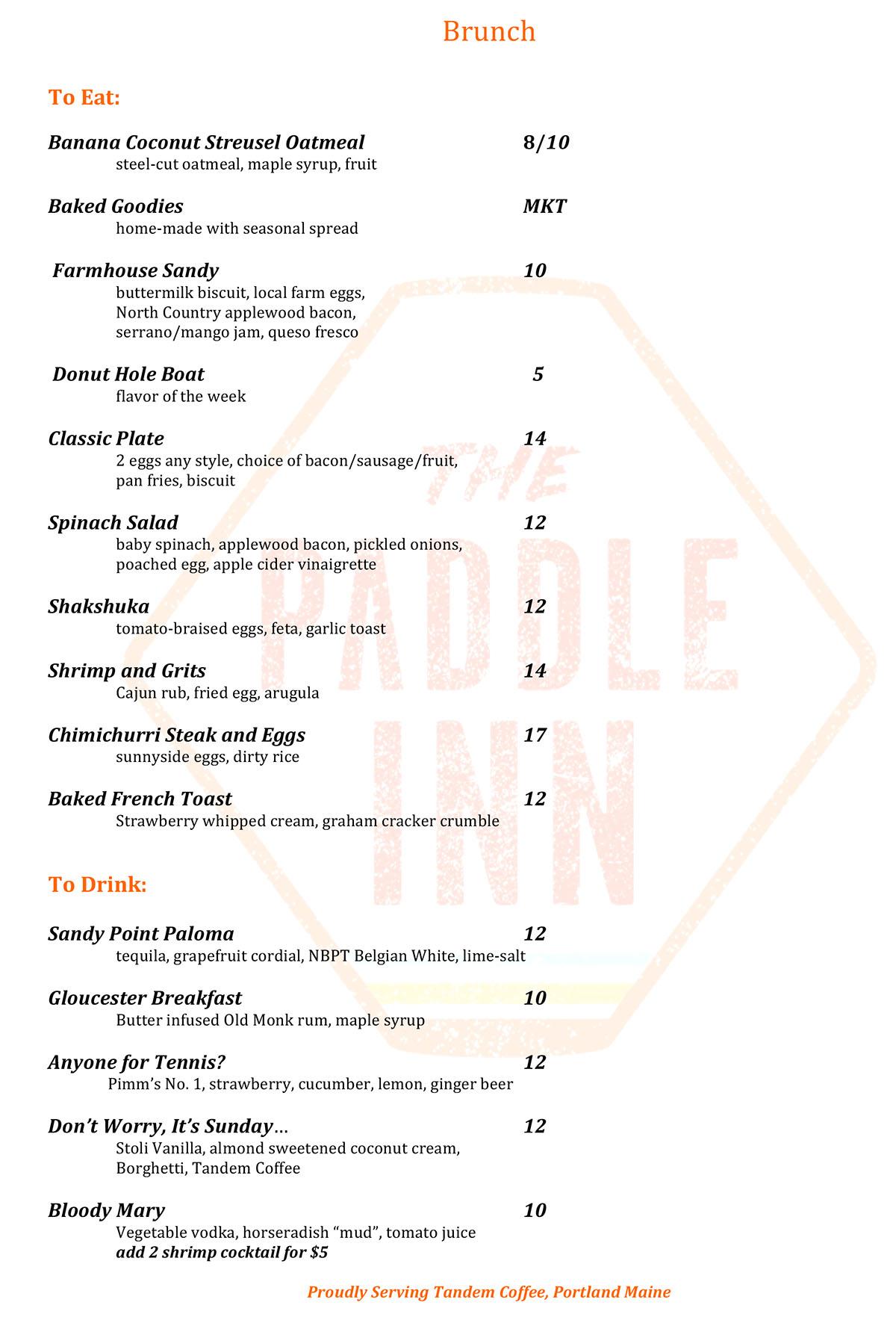 the Paddle Inn brunch menu