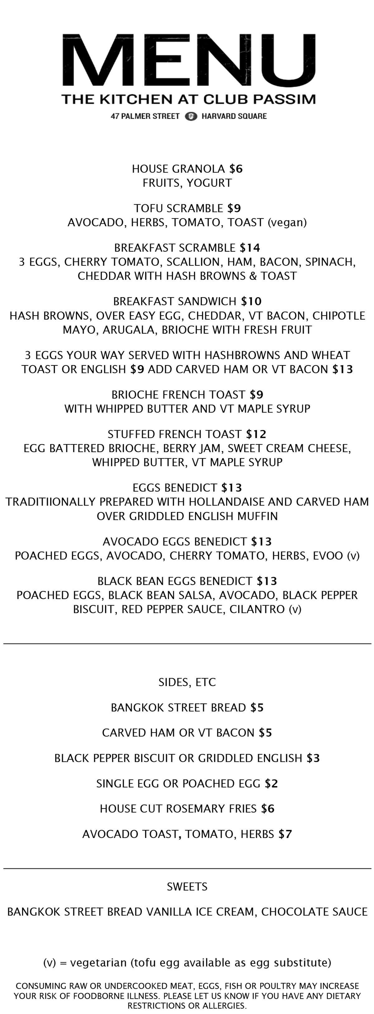 Club Passim brunch menu 2017