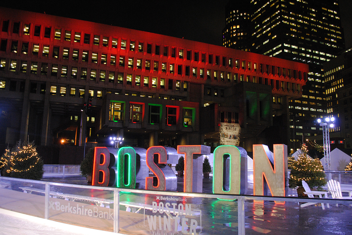 Boston Winter lights up City Hall Plaza.