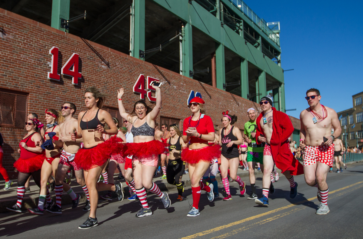 Cupid's Undie Run participants take over Fenway Park.