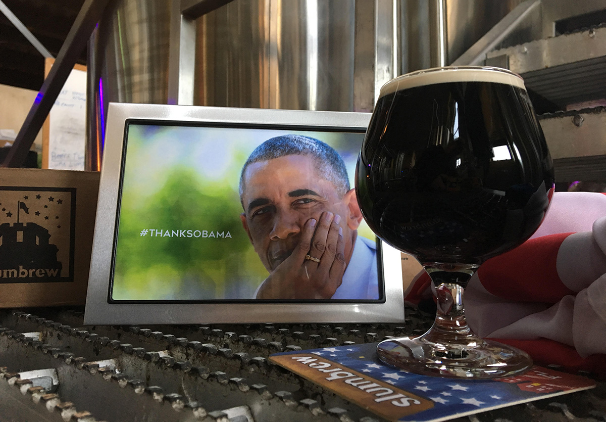 #ThanksObama stout at Somerville Brewing