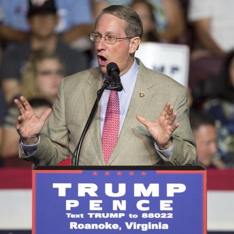 Congressman Bob Goodlatte, R-Va., gestures during a rally for Republican presidential candidate Donald Trump in Roanoke, Va., Saturday, Sept. 24, 2016.   (AP Photo/Steve Helber)