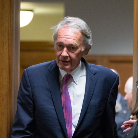 In this photo taken July 23, 2015 Sen. Ed Markey, D-Mass. walks on Capitol Hill, in Washington. Markey is blocking President Barack Obama's nominee to head the Food and Drug Administration. Markey said in a statement Monday, Jan. 25, 2016, that he's put a hold on Dr. Robert Califf's nomination. (AP Photo/Andrew Harnik)