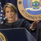 "Massachusetts Attorney General Maura Healey, right, joined by New York AG Eric Schneiderman, discusses a lawsuit against Volkswagen, Tuesday, July 19, 2016, in New York. The states are suing Volkswagen and its affiliates Audi and Porsche over diesel emissions cheating, alleging that the German automakers defrauded customers by selling diesel vehicles equipped with software allowing them to cheat emissions testing. In response the company said, ""The allegations in complaints filed by certain states today are essentially not new and we have been addressing them in our discussions with U.S. federal and state authorities.""  (AP Photo/Mark Lennihan)"
