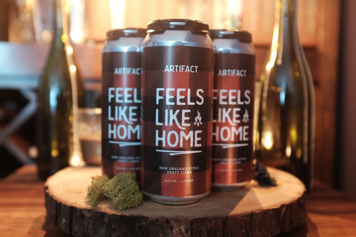 Artifact Cider Feels Like Home cans