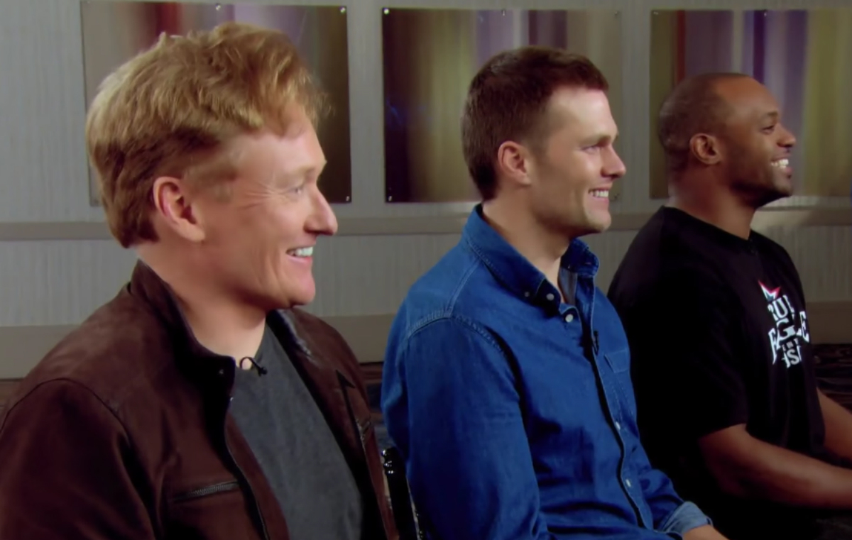 """Conan plays Tom Brady on the Super Bowl edition of """"Clueless Gamer."""""""