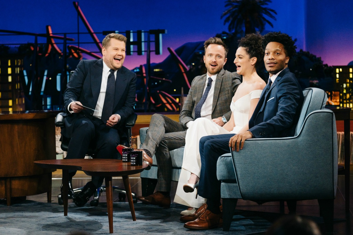"""Aaron Paul, Jenny Slate, and Jermaine Fowler chat with James Corden during """"The Late Late Show with James Corden,"""" on Wednesday, February 1, 2017 (12:35 PM-1:37 AM ET/PT) On The CBS Television Network. Photo: Terence Patrick/CBS ©2017 CBS Broadcasting, Inc. All Rights Reserved"""
