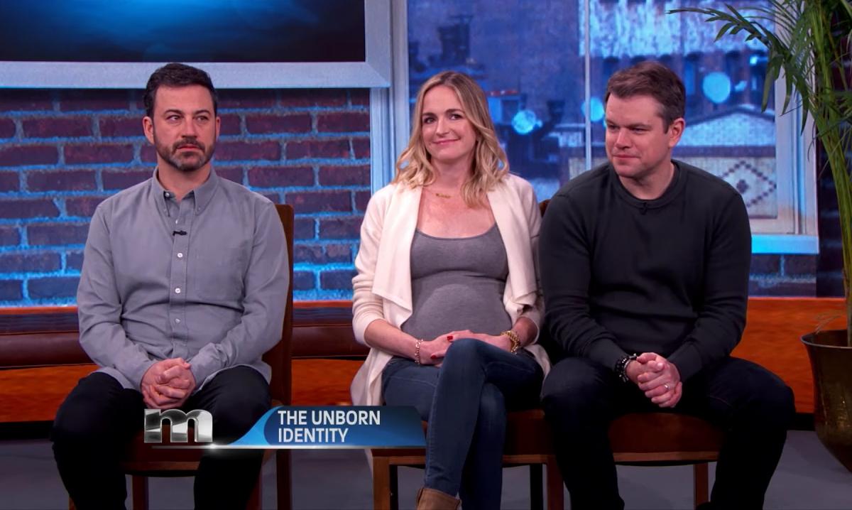 Matt Damon and Molly McNearney on Jimmy Kimmel show