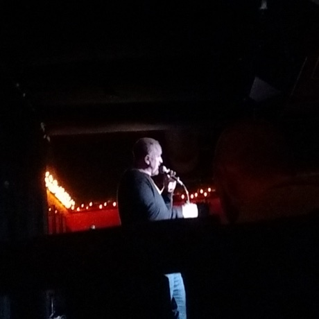 Louis CK on stage at the Burren Back Room after midnight on February 16, 2017. / Photo by Christopher Anderson
