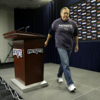 New England Patriots head coach Bill Belichick steps away from the podium after facing reporters before a scheduled NFL football team practice, Thursday, Jan. 26, 2017, in Foxborough, Mass. The Patriots are to play the Atlanta Falcons in Super Bowl LI, Feb. 5, 2017, in Houston. (AP Photo/Steven Senne)