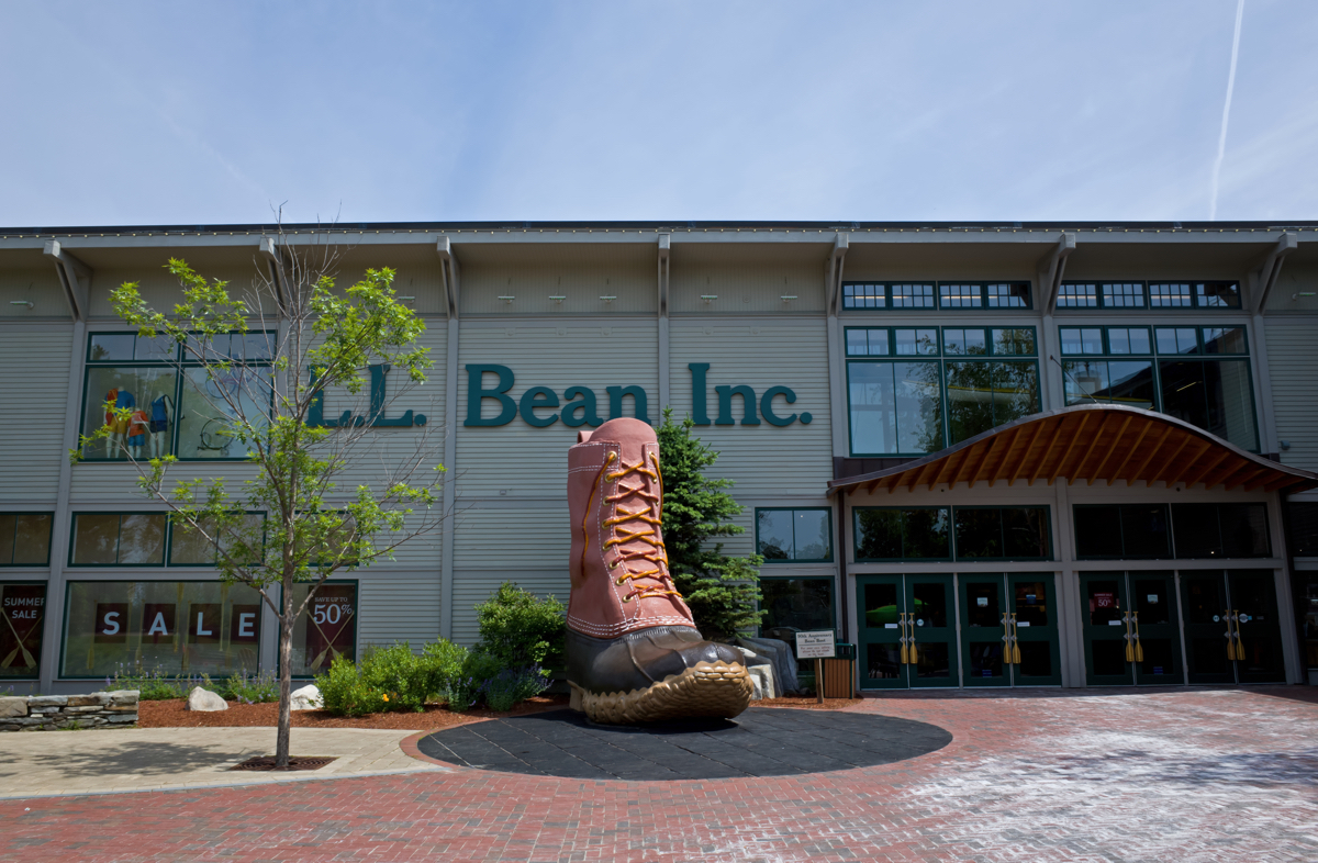 A replica of L.L. Bean's famous boot stands in front of the store.