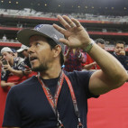 Mark Wahlberg waves as he arrives before the NFL Super Bowl 51 football game between the New England Patriots and the Atlanta Falcons, Sunday, Feb. 5, 2017, in Houston. (AP Photo/Elise Amendola)