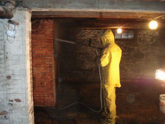 Powerwashing old fieldstone & brick foundation walls