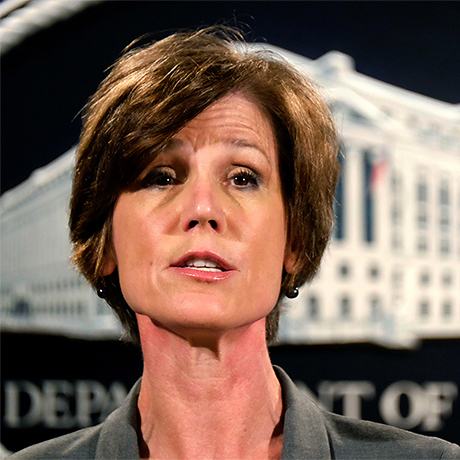 FILE - In this June 28, 2016 file photo, Deputy Attorney General Sally Yates speaks during a news conference at the Justice Department in Washington. The Justice Department says it's phasing out its relationships with private prisons after a recent audit found the private facilities have more safety and security problems than ones run by the government. Yates instructed federal officials to significantly reduce reliance on private prisons.  (AP Photo/J. David Ake, File)