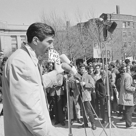 Howard Zinn, left, Prof. of Government at Boston University as he addressed an anti-was rally on Student Center steps at Massachusetts Institute of Technology in Cambridge, Mass., April 12, 1967. The rally was in protest of the war in Viet Nam. (AP Photo)