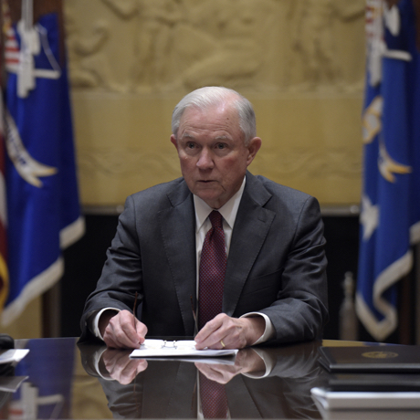 POOL--Attorney General Jeff Sessions holds a meeting with the heads of federal law enforcement components at the Department of Justice in Washington, Thursday, Feb. 9, 2017. (AP Photo/Susan Walsh)