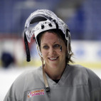 FILE - In this Dec. 15, 2016, file photo, U.S. hockey forward Meghan Duggan is seen after a practice session in Plymouth Township, Mich. Women's hockey stars Duggan and Hilary Knight say they aren't concerned about the future of the National Women's Hockey League despite a turbulent second season. The four-team NWHL is the first North American women's hockey league to pay player salaries, but a pair of announcements have brought into question the viability of the league this season. In November, player salaries were cut by half, and then last week, the league announced that this season will be shortened to end before national team players leave for the world championships, which begin March 31.  (AP Photo/Carlos Osorio, File)