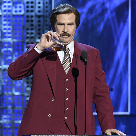 "Will Ferrell appears in character as Ron Burgundy from ""The Anchorman"" films at the Comedy Central Roast of Justin Bieber at Sony Pictures Studios on Saturday, March 14, 2015, in Culver City, Calif. (Photo by Chris Pizzello/Invision/AP)"