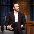 LATE NIGHT WITH SETH MEYERS -- Episode 514 -- Pictured: (l-r) Actor Chris Evans during an interview with host Seth Meyers on April 5, 2017 -- (Photo by: Lloyd Bishop/NBC)