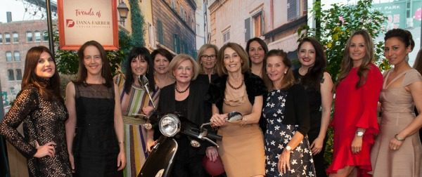Friends of Dana-Farber, Alexandra Slote, Jen Cunningham Butler, Dana Gerson Unger (event chair), Suzanne Chapman, Marilyn Wolman (event chair), Jane R. Moss, Seth Andrea McCoy, Suzanne Bloomberg (event chair), Melanie Conroy, Lucy Santos, and Anita Fink pose with Dana-Farber Cancer Institute President and CEO, Laurie Glimcher, MD / Photo by Melissa Ostrow