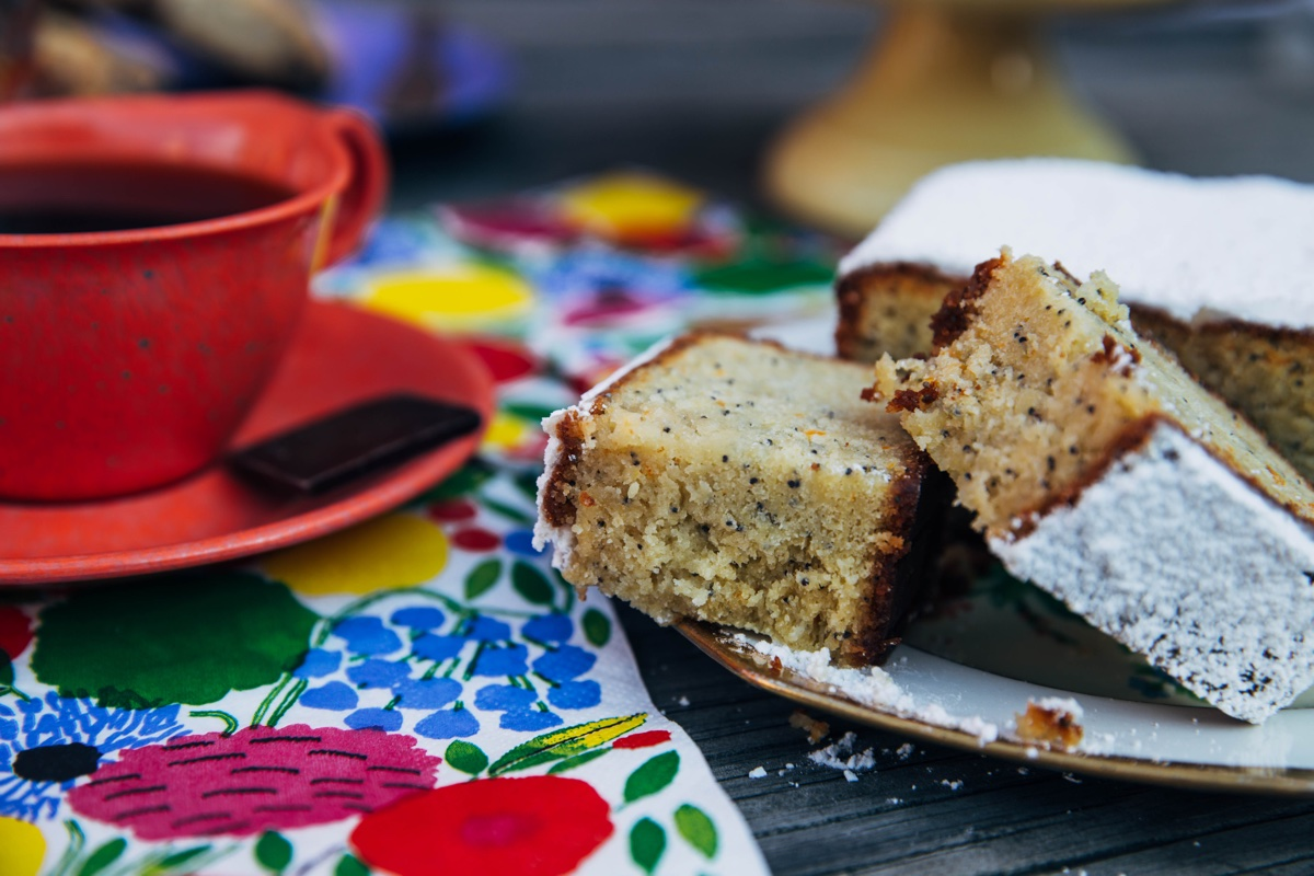 LEMON POPPYSEED CAKE and George Howell Coffee with a square of Somerville Chocolate