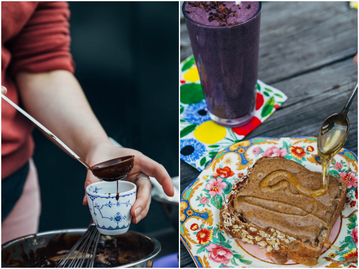 Gaté Comme des Filles hot chocolate / Honey and almond butter toast and a smoothie at Hikōki