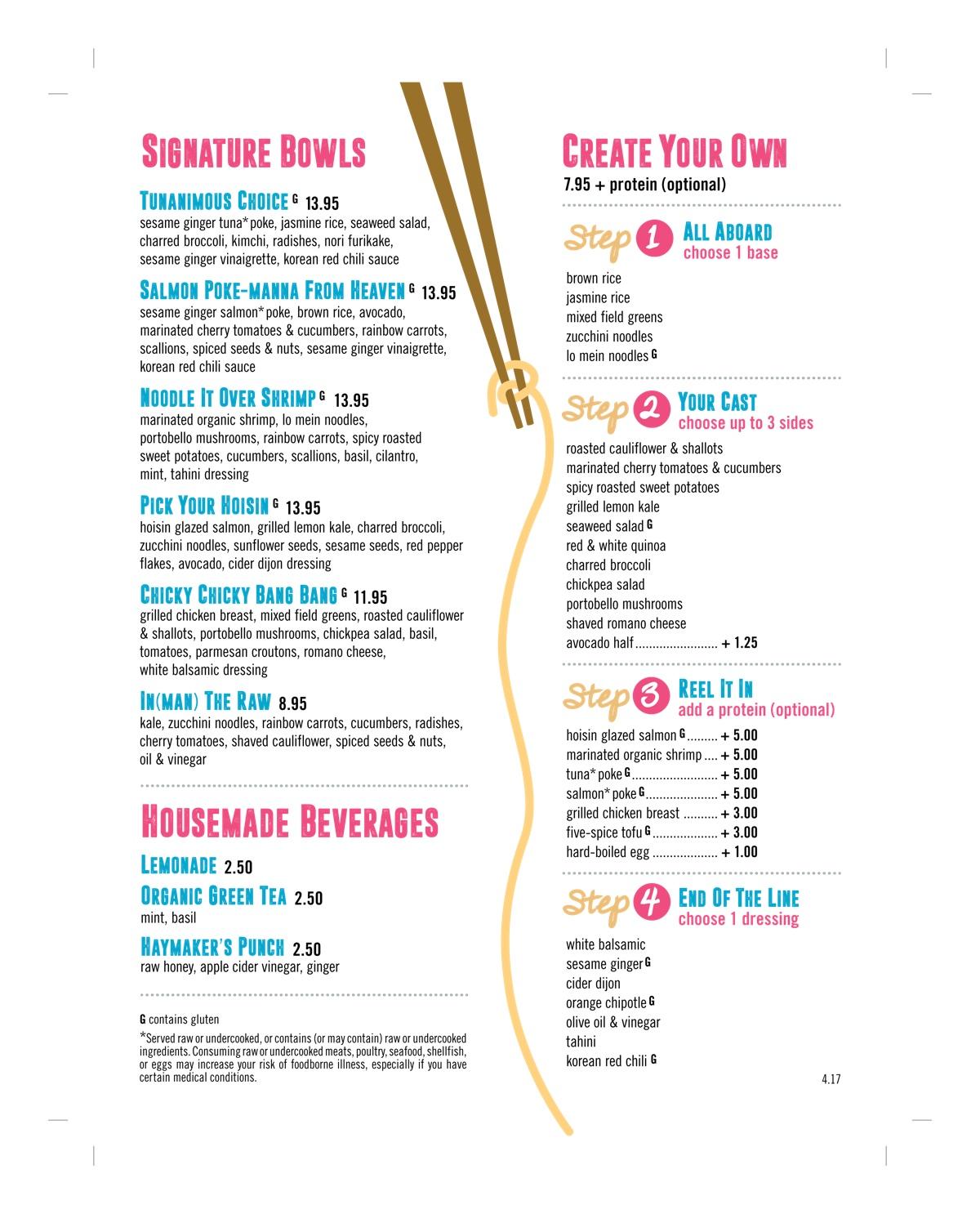 Legal Fish Bowl menu