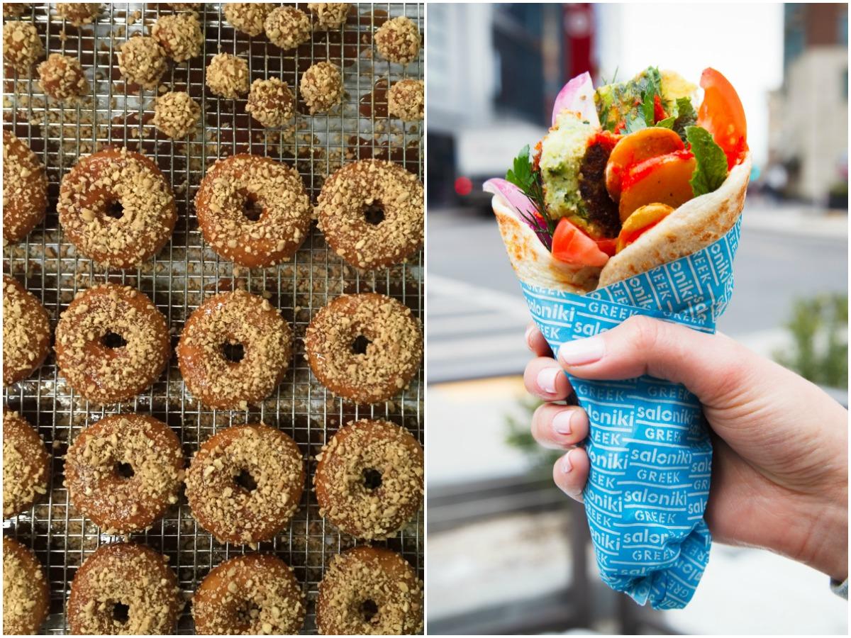 Cashew snickerdoodle doughnuts at Oak + Rowan / Saloniki breakfast pita