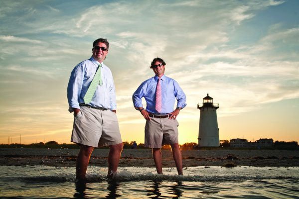 Shep (short straight hair) and Ian Murray, founders of Vineyard Vines, on the beach in Edgartown, MA, August 5, 2006.. © 2006 Shawn G. Henry • 978.590.4869 • www.shawnhenry.com.