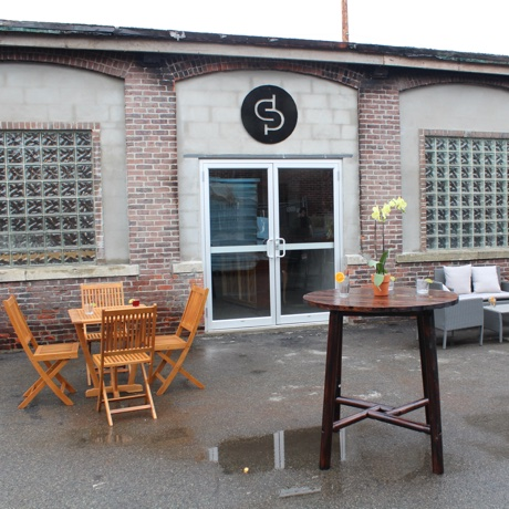 The outdoor patio behind Short Path Distillery in Everett