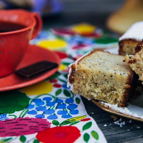 almond cake and coffee square