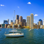 """Boston Cityscape and boats on Harbor, Massachusetts"""