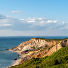 Gay Head Light and Aquinnah Cliffs at Martha's Vineyard, MA. The current lighthouse was first lit in 1856.