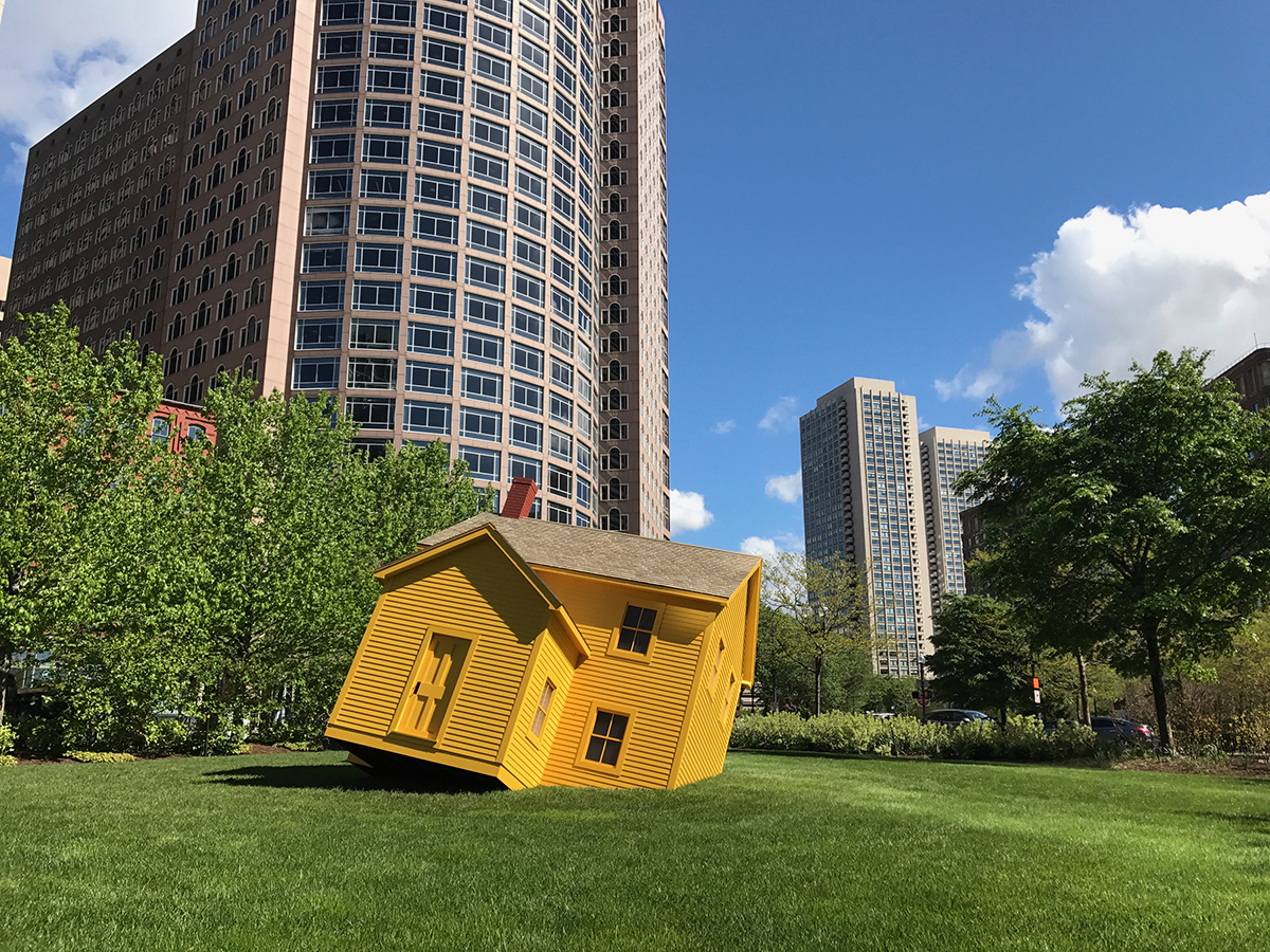 there's a sinking yellow house on the greenway