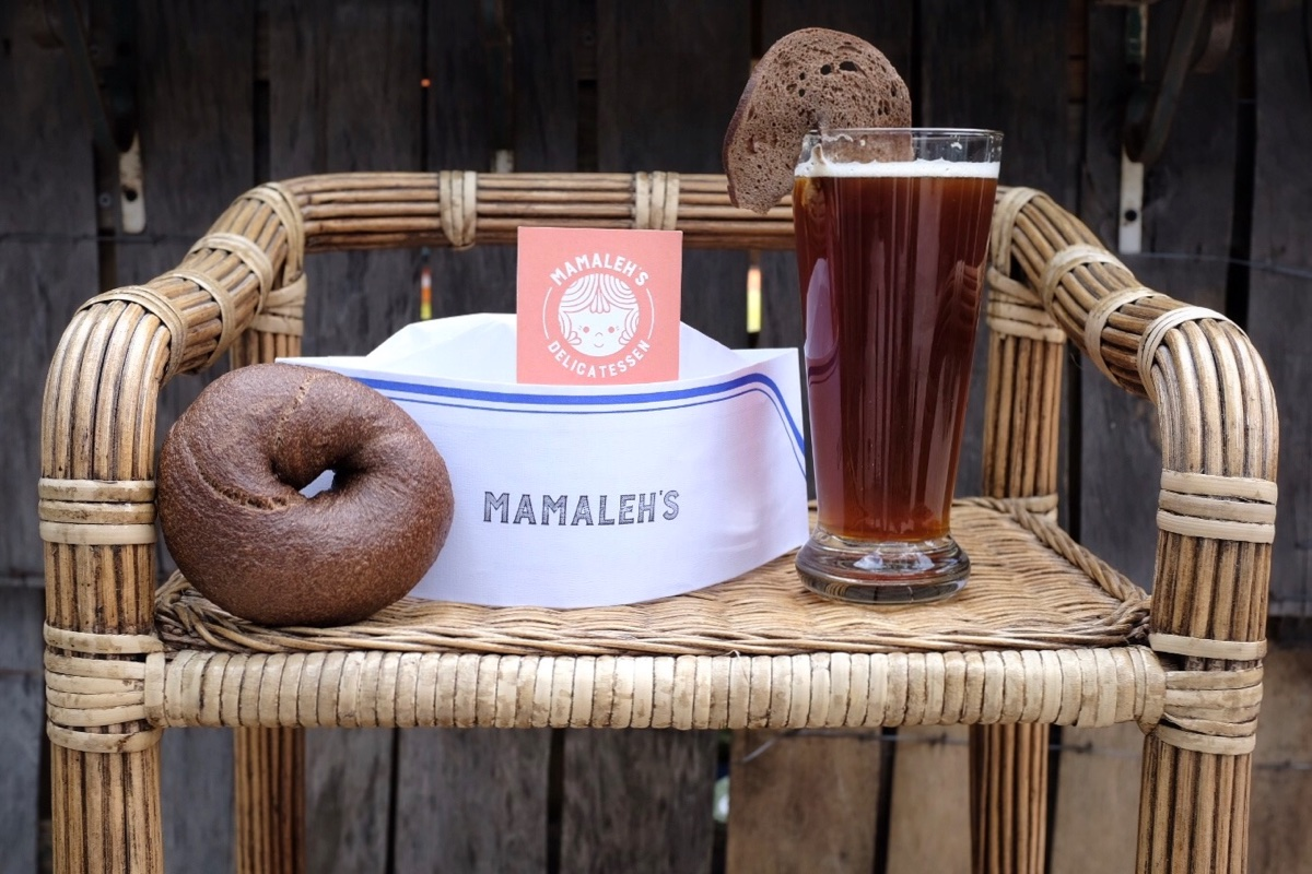 The Bagel Bock, brewed with Mamaleh's rye bagels at Cambridge Brewing Company