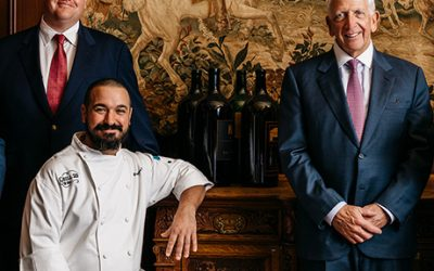 From left, Grill 23 wine director Brad Fichter, executive vice president Chris Himmel, executive chef Brian Kevorkian, founder Ken Himmel, and corporate beverage director Brahm Callahan