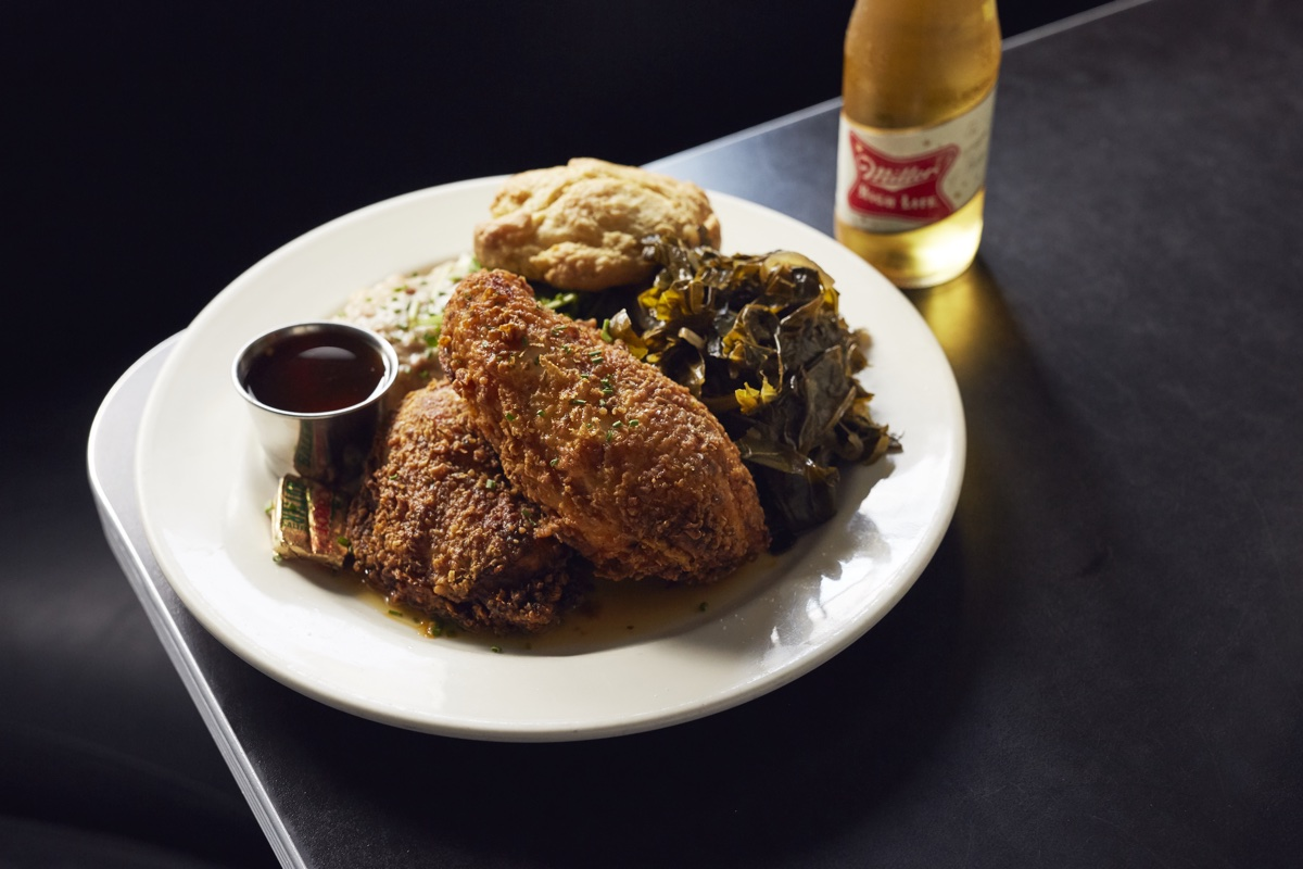 Fried chicken and a High Life at Trina's Starlite Lounge in Somerville
