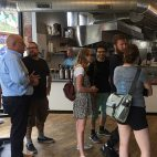 Travel Channel star Andrew Zimmern at Clover in Central Square with chef Jamie Bissonnette
