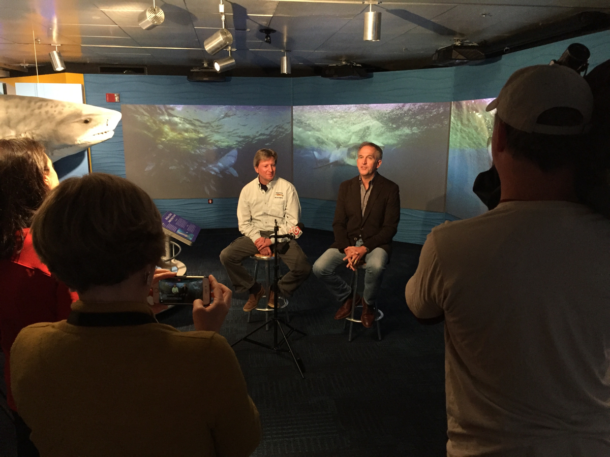 """Brian Skerry at the New England Aquarium exhibit """"The Science of Sharks."""""""