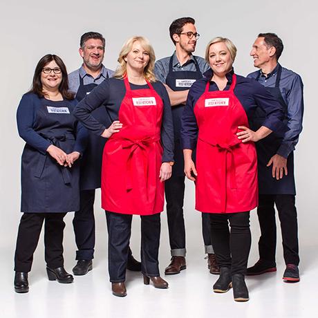 America's Test Kitchen cast members (L to R) Lisa McManus, Adam Ried, Bridget Lancaster, Dan Souza, Julia Collin Davison, and Jack Bishop