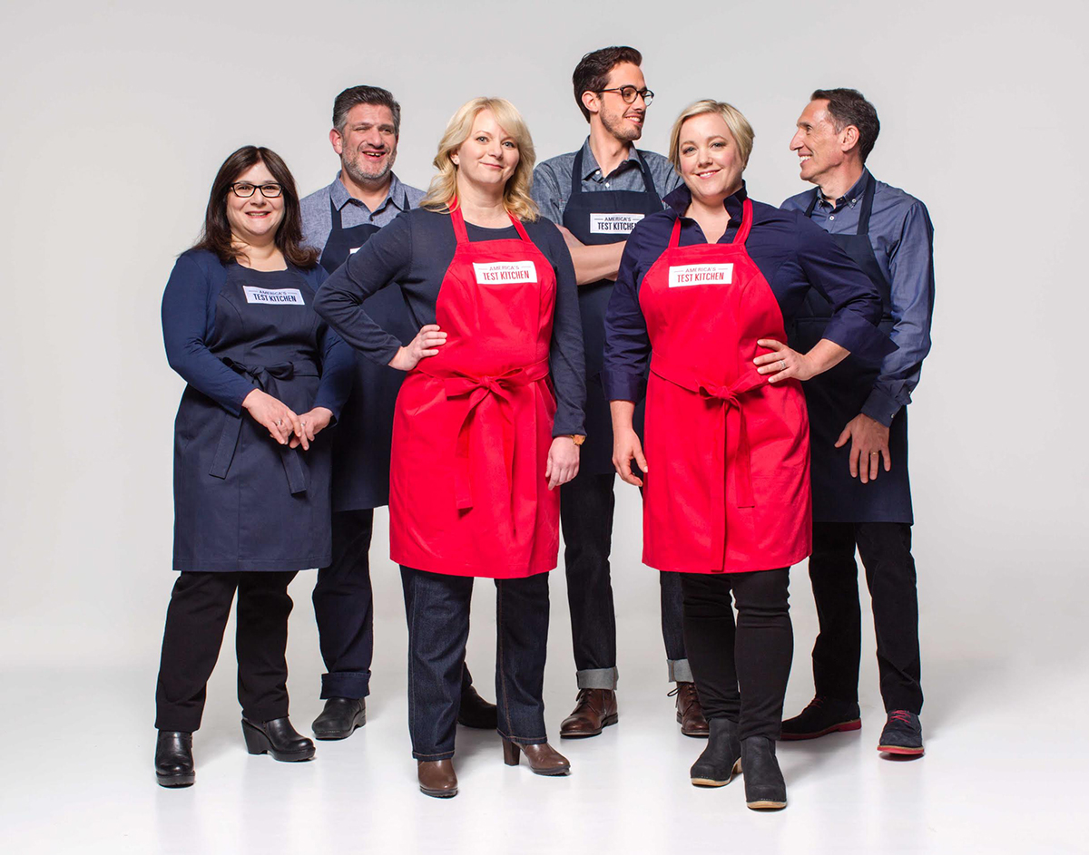 America's Test Kitchen cast members (L to R) Lisa McManus, Adam Ried, Bridget Lancaster, Dan Souza, Julia Collin Davison, and Jack Bishop