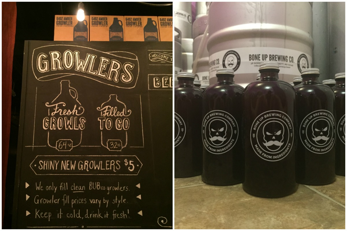 Bone Up growler signage and 32-ounce branded jugs